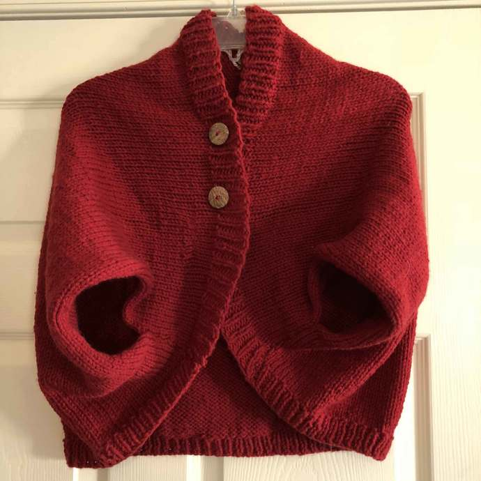 Shrug/Bolero Sweater - Short Sleeve - Raspberry