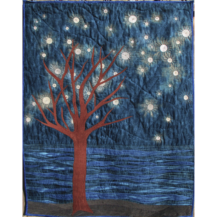 "Starry Night art quilt wallhanging 34""x45"""