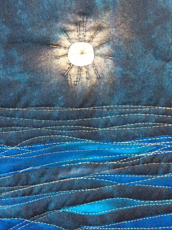 """Starry Night art quilt wallhanging 34""""x45"""""""