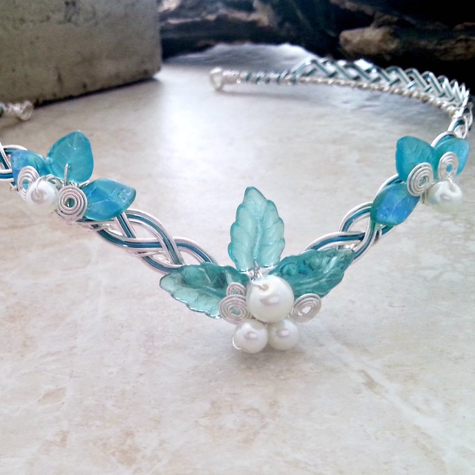 Aqua Blue Boho Wedding Tiara Circlet Crown