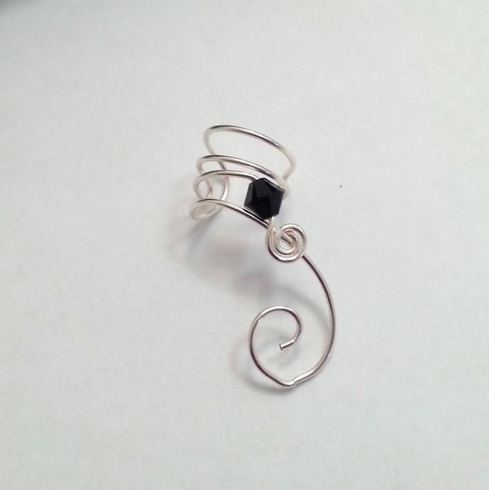 Ear Cuff Jet Black Swarovski Crystal No Piercing