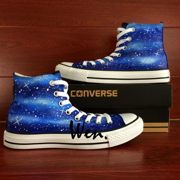 Galaxy Starry Shoes Graffiti Painting Original Design Nebula Hand Painted  All 23c2059fc