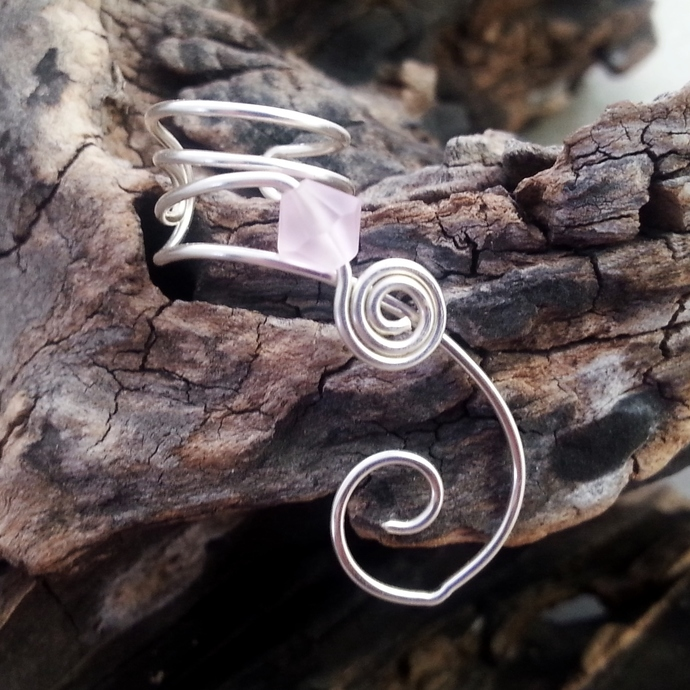 Ear Cuff Pink Sapphire Frost Crystal, Valentines Day Jewelry