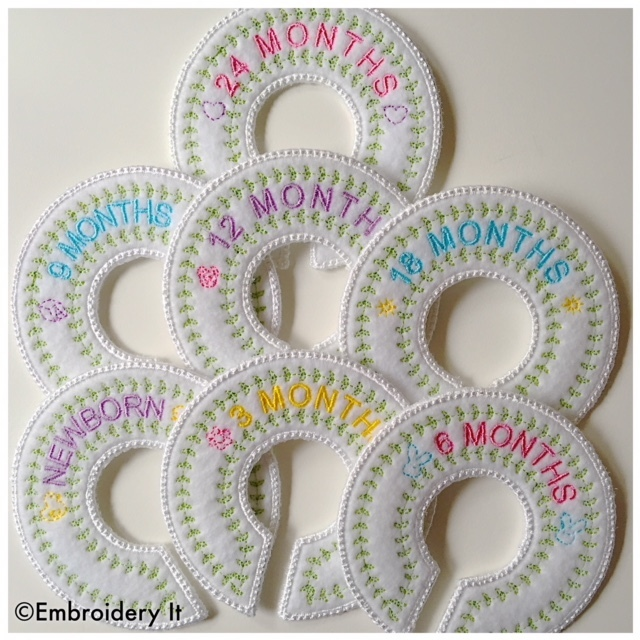 Baby Closet Organizer Dividers Embroidery File in pes, dst, exp, vip, jef, hus