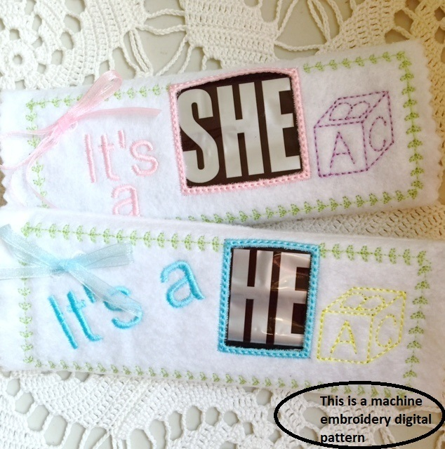 Baby Gender Reveal Candy Bar Wrap Machine Embroidery File in pes, dst, exp, vip,