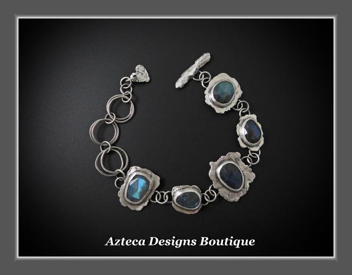 Labradorite Gemstone Hand Fabricated Rustic Sterling Silver Artisan Bracelet