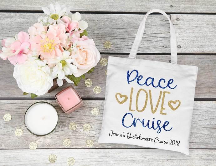 Peace Love Cruise, customizable tote bag, nautical bags, beach wedding favors,