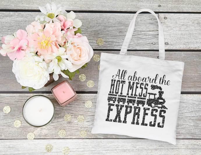 All aboard the hot mess express, customizable tote bag, las vegas bachelorette,