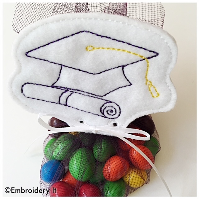 Graduation Cap Treat Topper Tag Machine Embroidery Files in pes, dst, exp, vip,