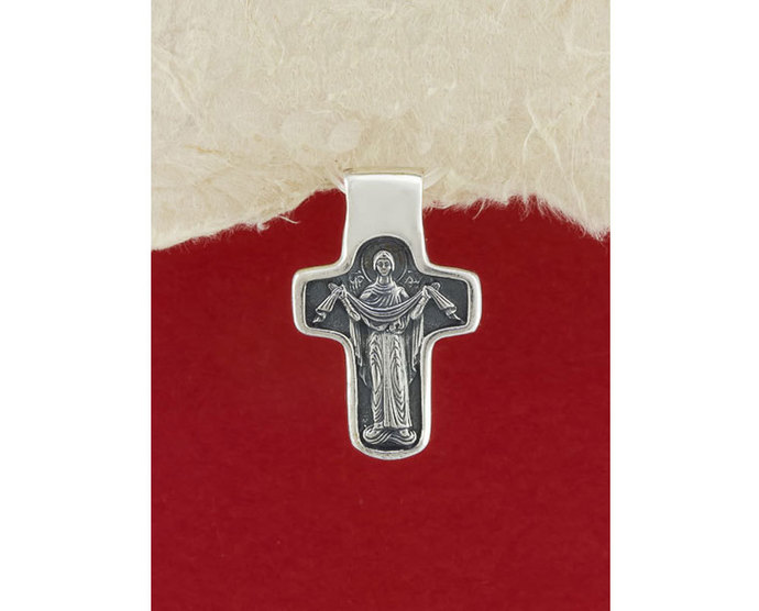Sterling Silver Handmade Saint Nicholas Cross Pendant/Religious pendant for