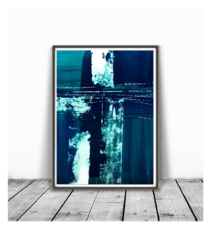 Printable abstract, contemporary art, print from original painting, teal navy