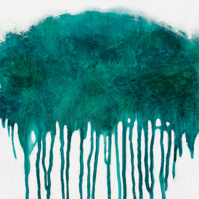 Abstract teal and white painting, printable painting, contemporary wall art,