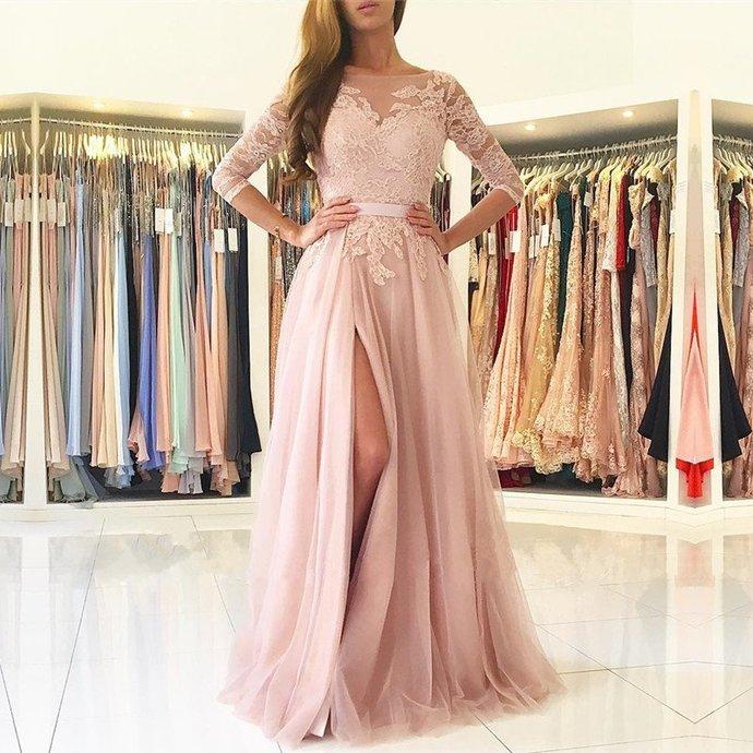 O-Neck  Appliques A-Line Prom Dresses,Long Prom Dresses,Cheap Prom Dresses,