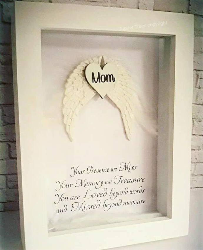 Angel Wing and Feather Memorial Frame by Jupitertrees on Zibbet
