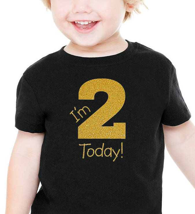 i'm 2 today onesie or toddler shirt in gold glitter  |  2nd birthday