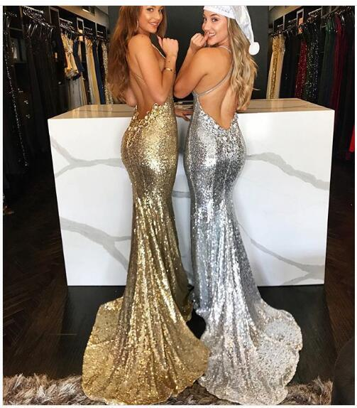 f7a63c9b626 Sexy Mermaid Gold Prom Dress