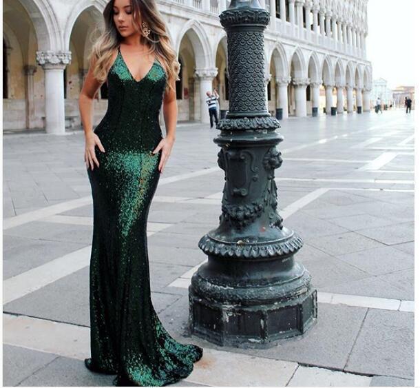 0ddd1cb7856 Sexy Mermaid Emerald Green Prom Dress