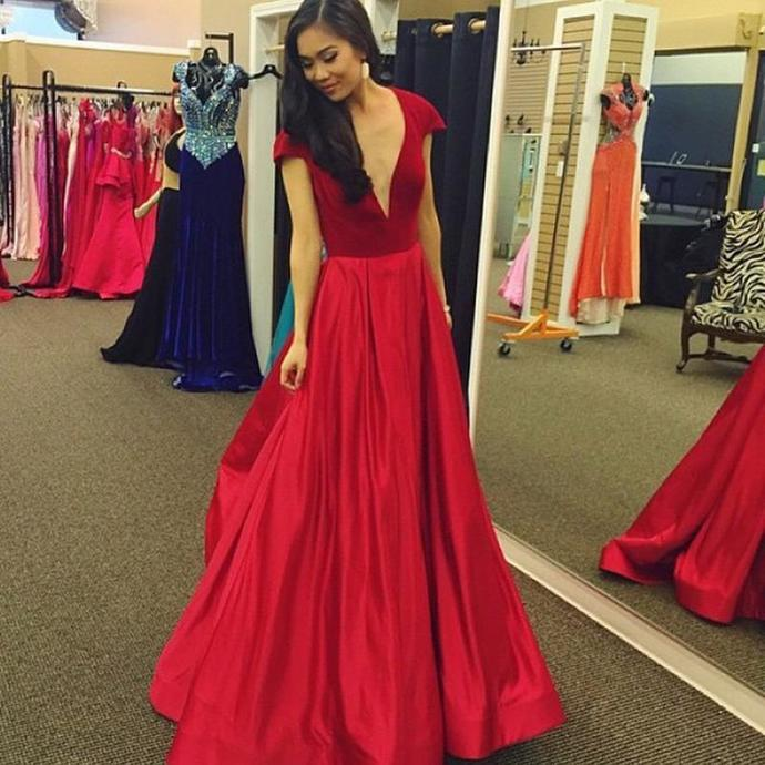 Sexy Red Deep V Neck Long Prom Dress,Cap Sleeve Satin Evening Dress,820714