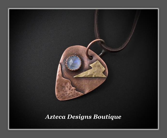 Copper Brass Rainbow Moonstone Rosecut Guitar Pick Hand Fabricated Pendant