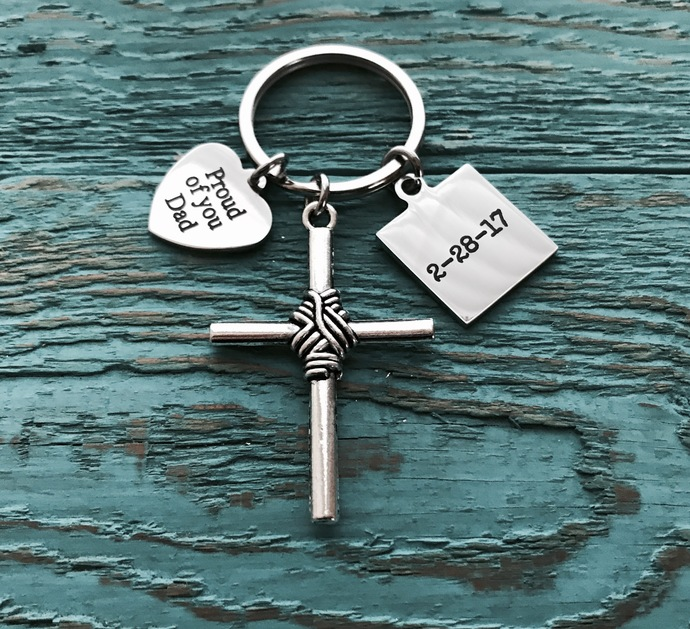 Proud of you, Custom DATE, One Day At A Time, Sobriety Gift, Sobriety Keychain,