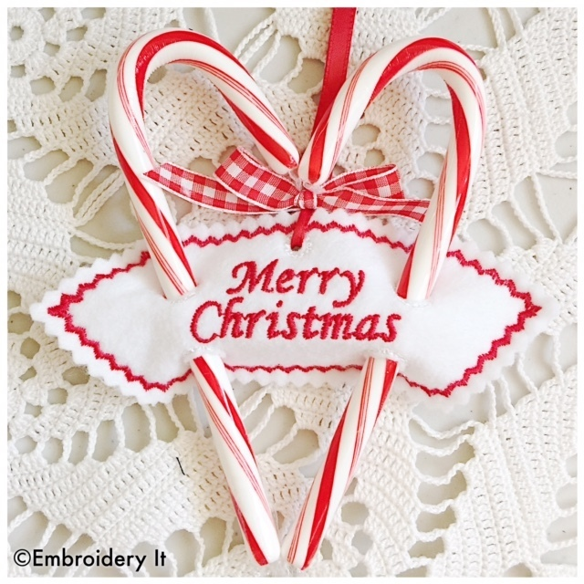Merry Christmas Sweetheart Candy Cane Holder Holder Machine Embroidery Christmas