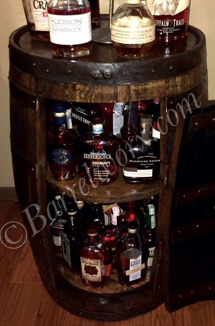 Ordinaire Whiskey Barrel Liquor Cabinet With Double Lazy Susans.