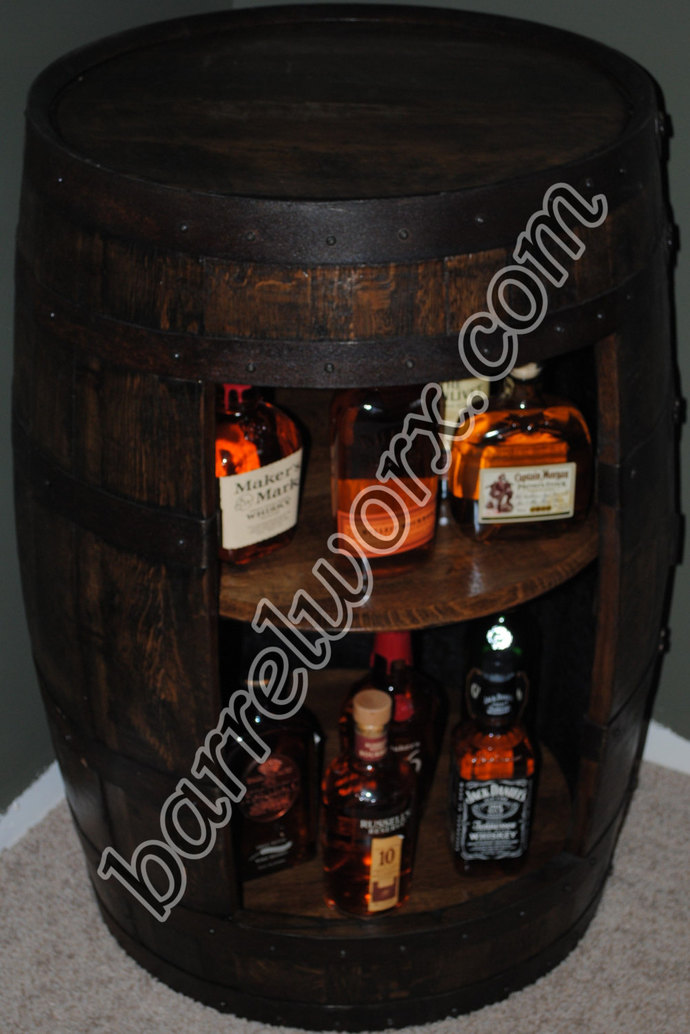 Marvelous Whiskey Barrel Display Liquor Cabinet With Double Lazy Susan