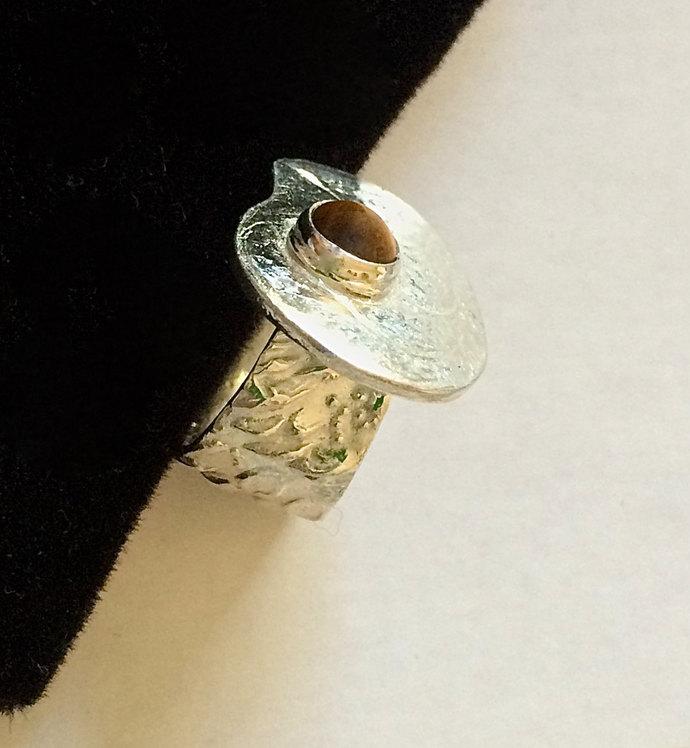 Tiger's eye ring, artist palette, silver ring, OOAK ring, unusual ring, paisley