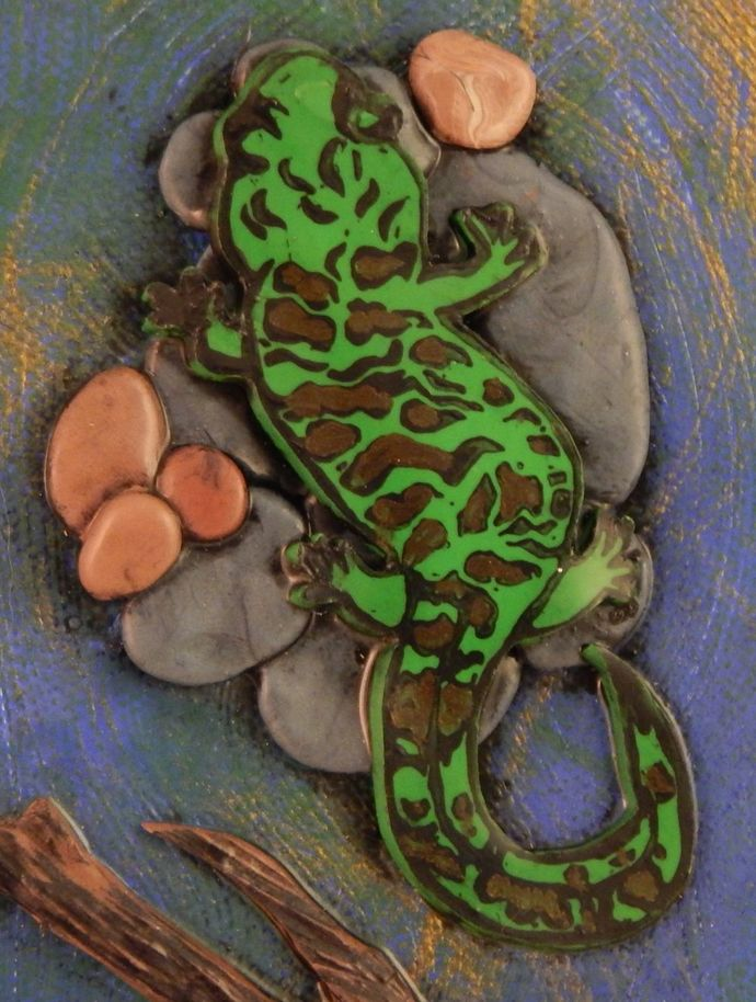 Salamander Party mixed media art canvas