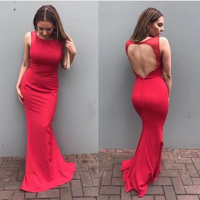 red long prom dress evening dress, 2018 red prom dress graduation dress, formal