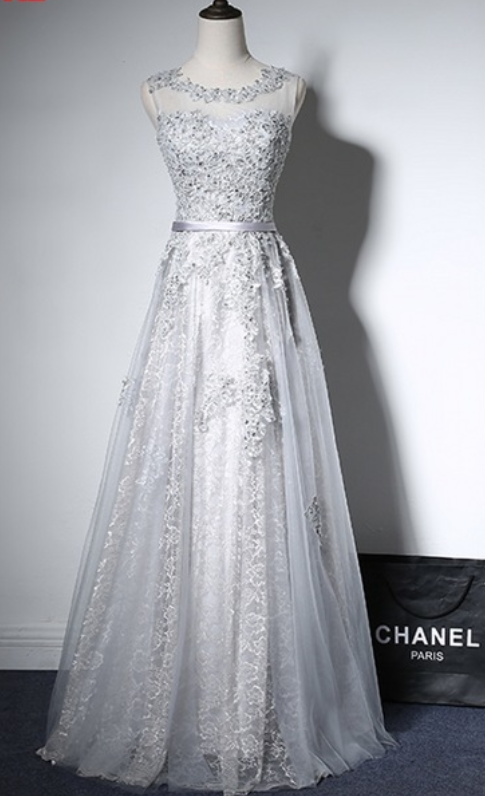 d31557f29cc Grey silver evening dress in the women s square thin gauze begins formal  evening