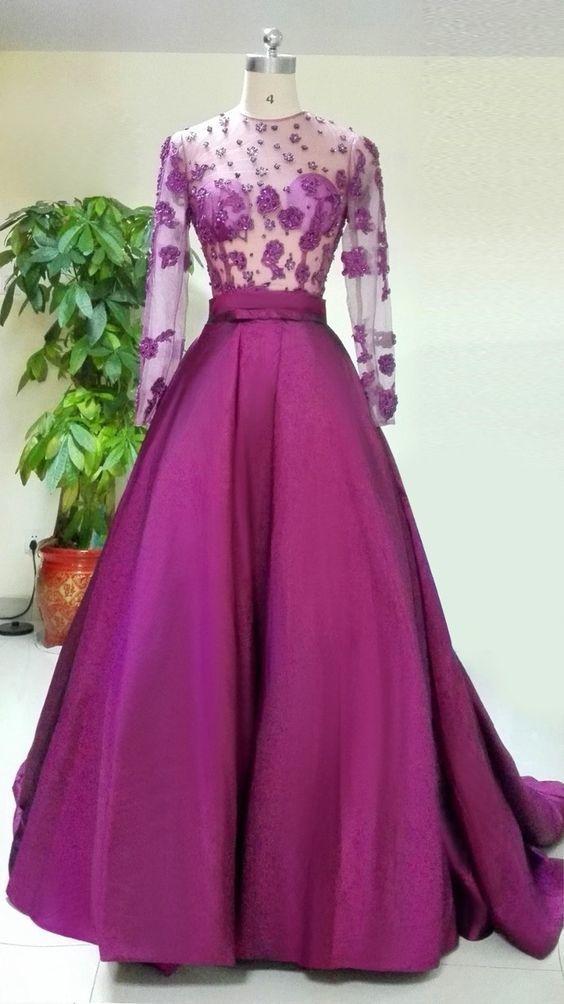 New Long Sleeve Evening Dress,Sexy Evening Dress,Long Prom Dresses,Formal