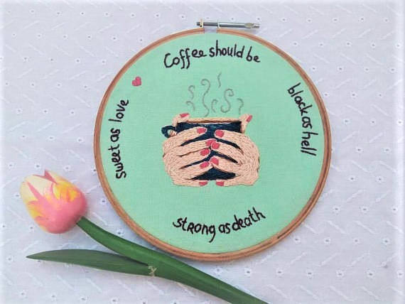 Hand embroidery wall hanging, coffee decoration for kitchen, coffee mug