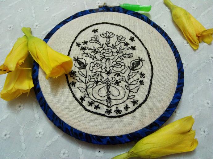Blackwork embroidery flowers in hoop, vintage oval floral design, gallery wall