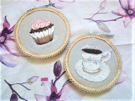 Coffee cup wall art, kitchen wall decor ideas, hand embroidery hoops, cupcake