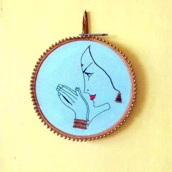 Indian woman painting, Boho embroidery design, feminine wall art, hand