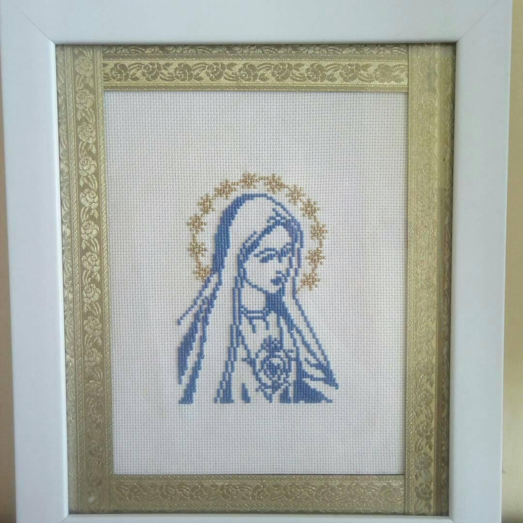 Mother Mary framed cross stitch, birthday by NataschaSood on Zibbet