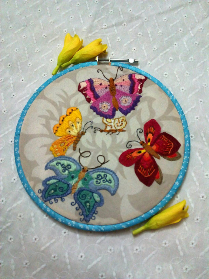 hand embroidered butterfly garden, by NataschaSood on Zibbet