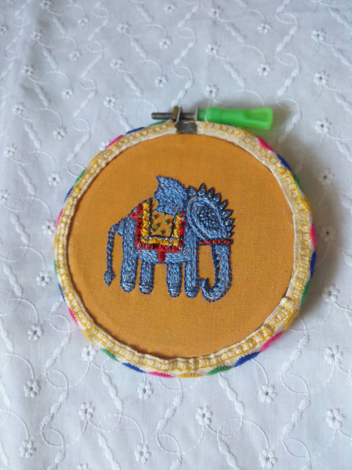Elephant embroidery hoop | Indian elephant nursery decor | gift for zoo keeper