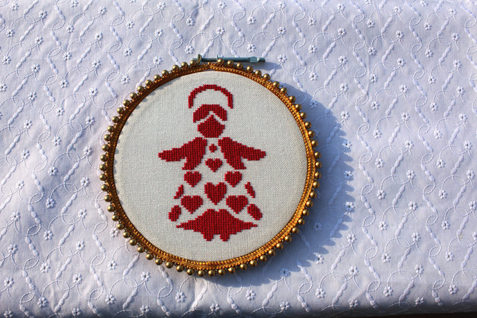 Valentine hand embroidery, Angel wings wall decor, Valentines day ornament,