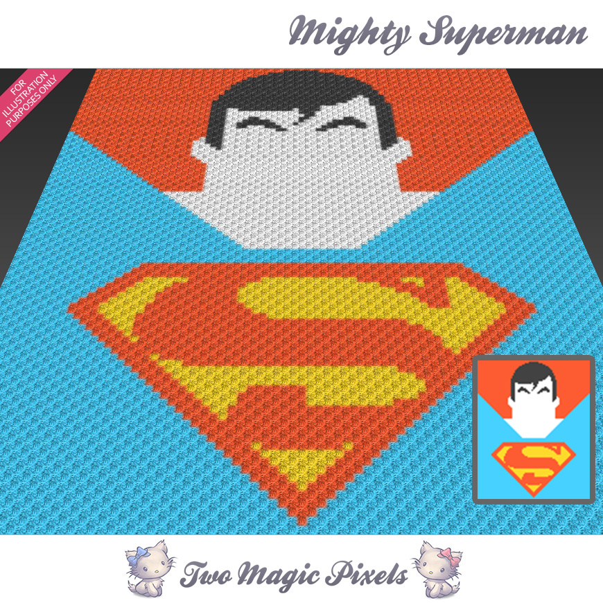 Mighty Superman crochet blanket pattern; | TwoMagicPixels
