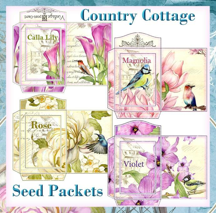 photograph relating to Printable Seed Packets named Nation Cottage Seed Packets Fastened - Electronic Printable - Fast Down load