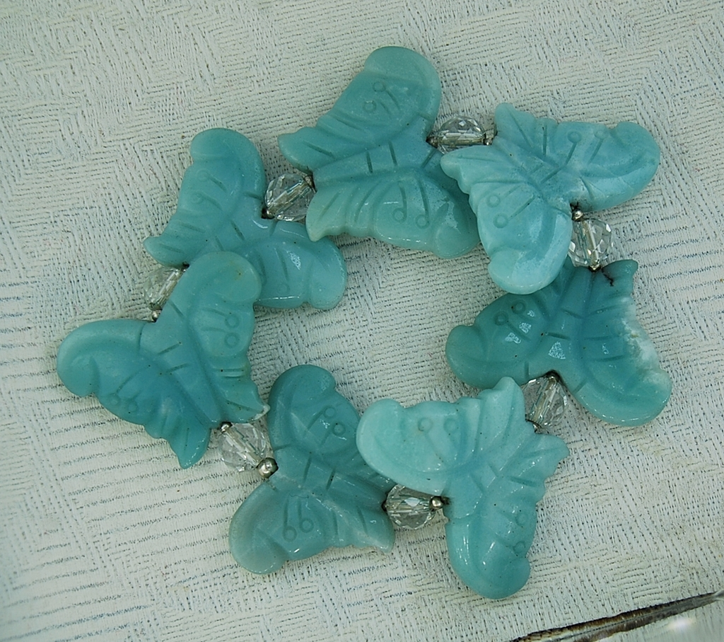 e8047b8346b12 Aqua Aventurine Butterfly Bracelet with Faceted Quartz and Sterling Silver  Beads