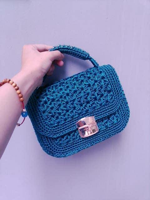 Stylish mini handbag in blue
