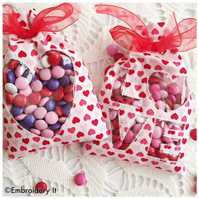 Valentine Treat Bags Set of 2 Embroidery Designs - Machine Embroidery Instant