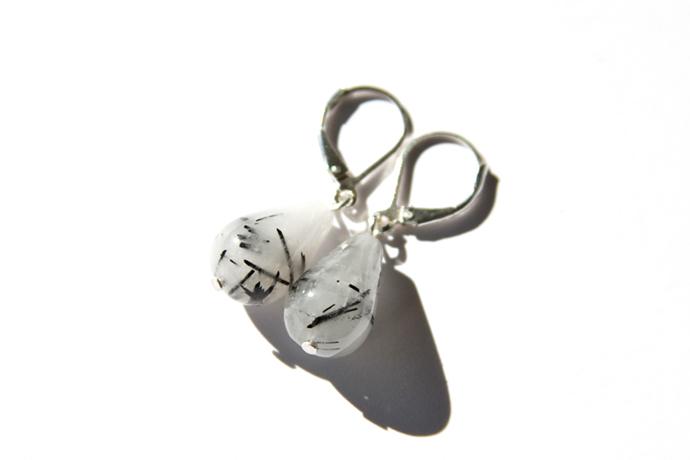 Tourmalinated Quartz Silver Earrings Sterling Silver White Black Tourmaline
