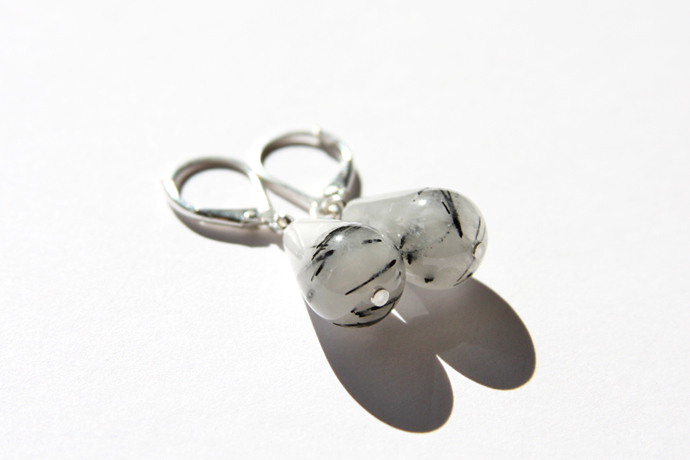 Tourmalinated Quartz Silver Earrings Sterling Silver White Black Tourmaline
