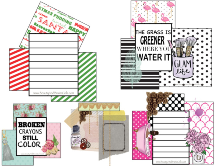 Green Pink Scrapbook  journaling Card Embellishments-Printable Instant Download