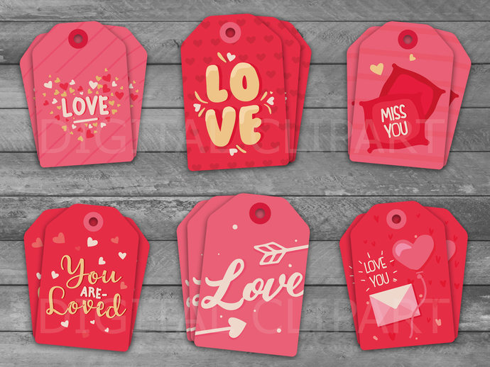 Unique Valentine's Day Printable Tags Collection, Valentine Tag, Red Heart, Tags