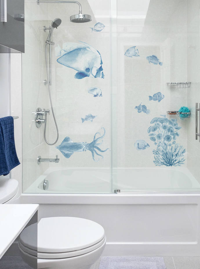 Fish Wall Decals   Blue Denim   Vintage Ocean   Under The Sea Wall Decal